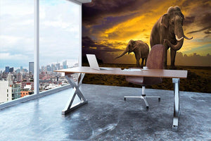 Elephants family on sunset Wall Mural Wallpaper - Canvas Art Rocks - 3