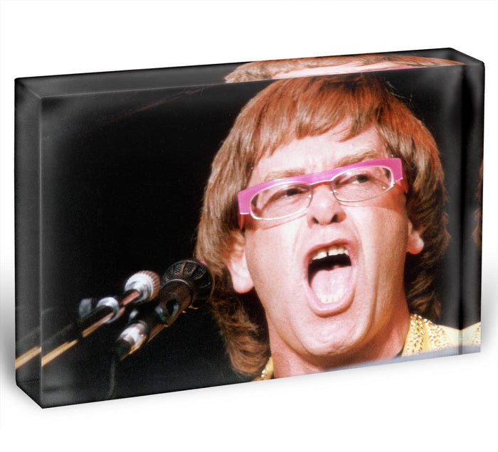 Elton John singing Acrylic Block