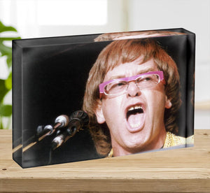 Elton John singing Acrylic Block - Canvas Art Rocks - 2