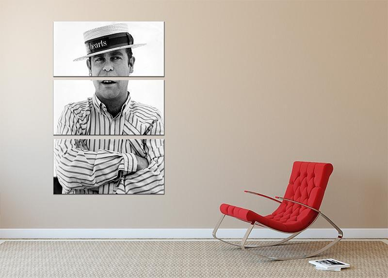 Elton John wearing a straw boater 3 Split Panel Canvas Print - Canvas Art Rocks - 2