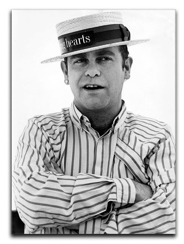 Elton John wearing a straw boater Canvas Print or Poster  - Canvas Art Rocks - 1