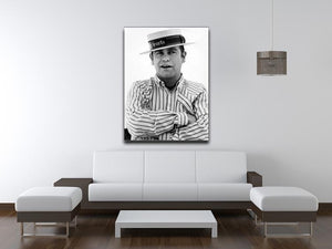Elton John wearing a straw boater Canvas Print or Poster - Canvas Art Rocks - 4