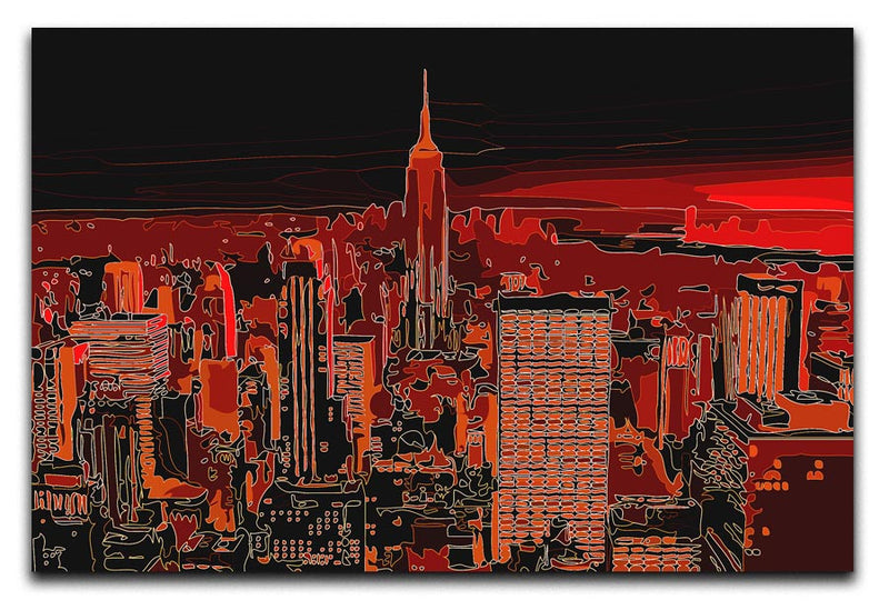 Empire State Building At Night Print - Canvas Art Rocks - 1