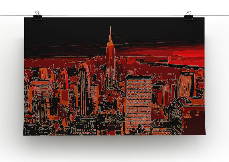 Empire State Building At Night Print - Canvas Art Rocks - 2