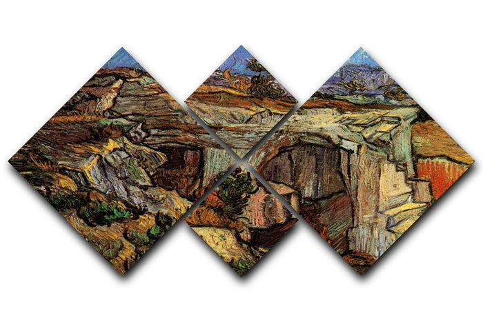 Entrance to a Quarry near Saint-Remy by Van Gogh 4 Square Multi Panel Canvas