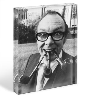 Eric Morecambe with three pipes in his mouth Acrylic Block - Canvas Art Rocks - 1