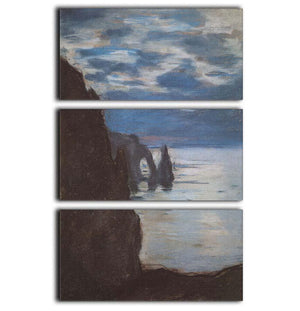 Etretat by Monet 3 Split Panel Canvas Print - Canvas Art Rocks - 1