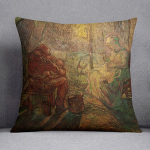 Evening The Watch after Millet by Van Gogh Throw Pillow