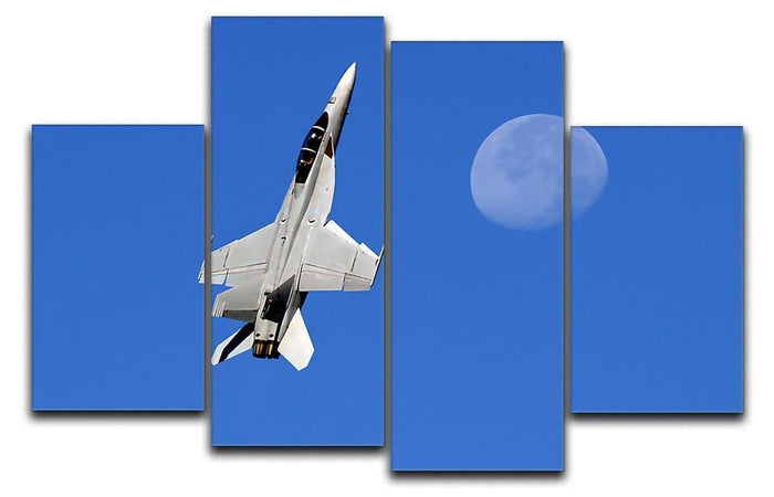 F-18 and the Moon 4 Split Panel Canvas