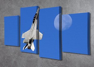 F-18 and the Moon 4 Split Panel Canvas  - Canvas Art Rocks - 2