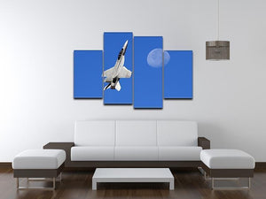 F-18 and the Moon 4 Split Panel Canvas  - Canvas Art Rocks - 3
