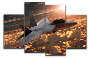F22 Fighter Jet at Sunset 4 Split Panel Canvas  - Canvas Art Rocks - 1