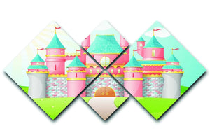 FairyTale castle illustration 4 Square Multi Panel Canvas  - Canvas Art Rocks - 1
