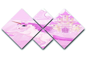 Fairy Tale Castle and Unicorn 4 Square Multi Panel Canvas  - Canvas Art Rocks - 1