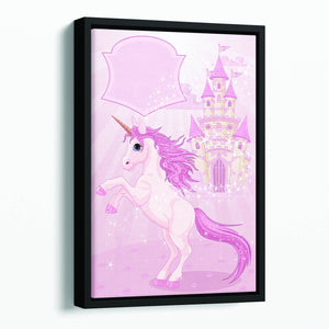 Fairy Tale Castle and Unicorn Floating Framed Canvas