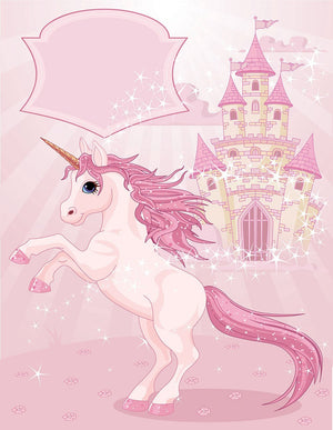 Fairy Tale Castle and Unicorn Wall Mural Wallpaper - Canvas Art Rocks - 1