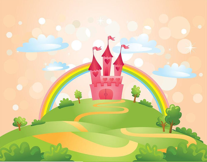 Fairy Tale Castle under Rainbow Wall Mural Wallpaper