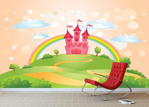 Fairy Tale Castle under Rainbow Wall Mural Wallpaper - Canvas Art Rocks - 3