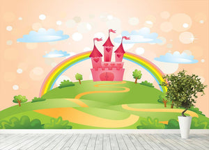 Fairy Tale Castle under Rainbow Wall Mural Wallpaper - Canvas Art Rocks - 4