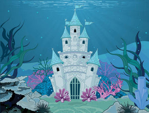 Fairy Tale Mermaid Princess Castle Wall Mural Wallpaper - Canvas Art Rocks - 1