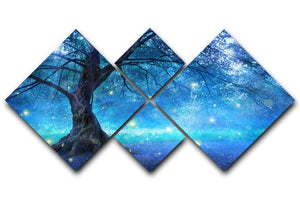 Fairy Tree In Mystic Forest 4 Square Multi Panel Canvas  - Canvas Art Rocks - 1