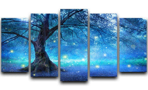 Fairy Tree In Mystic Forest 5 Split Panel Canvas  - Canvas Art Rocks - 1