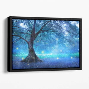 Fairy Tree In Mystic Forest Floating Framed Canvas