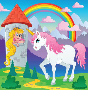 Fairy tale unicorn Wall Mural Wallpaper - Canvas Art Rocks - 1