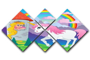Fairy tale unicorn theme 4 Square Multi Panel Canvas  - Canvas Art Rocks - 1