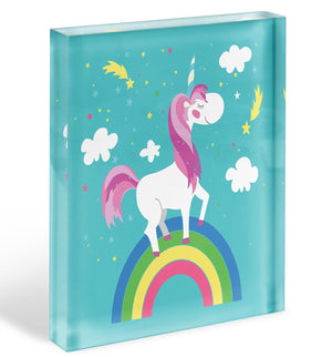 Fairy unicorn with rainbow Acrylic Block - Canvas Art Rocks - 1