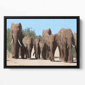 Family herd of African elephants on the move Floating Framed Canvas - Canvas Art Rocks - 2