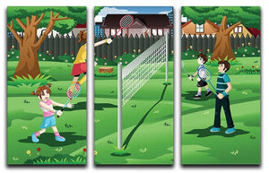 Family playing badminton in the backyard 3 Split Panel Canvas Print - Canvas Art Rocks - 1