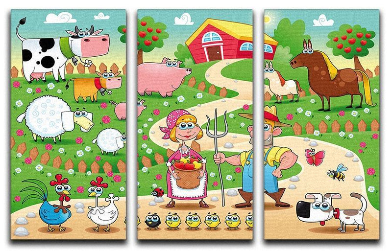 Farm Family 3 Split Panel Canvas Print - Canvas Art Rocks - 1