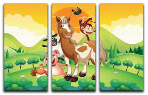 Farm animals in the field 3 Split Panel Canvas Print - Canvas Art Rocks - 1