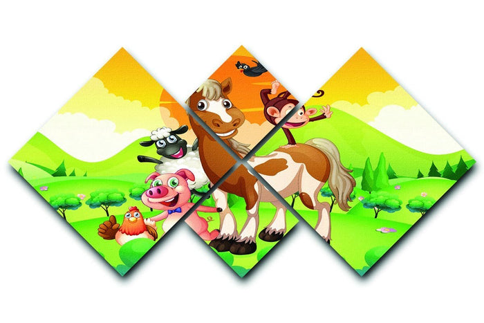Farm animals in the field 4 Square Multi Panel Canvas
