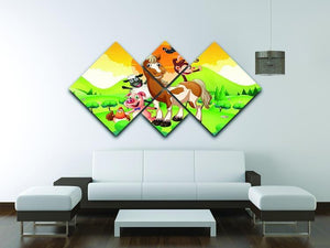 Farm animals in the field 4 Square Multi Panel Canvas - Canvas Art Rocks - 3