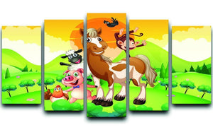 Farm animals in the field 5 Split Panel Canvas - Canvas Art Rocks - 1