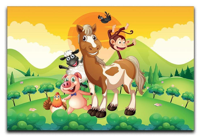 Farm animals in the field Canvas Print or Poster
