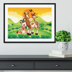 Farm animals in the field Framed Print - Canvas Art Rocks - 1