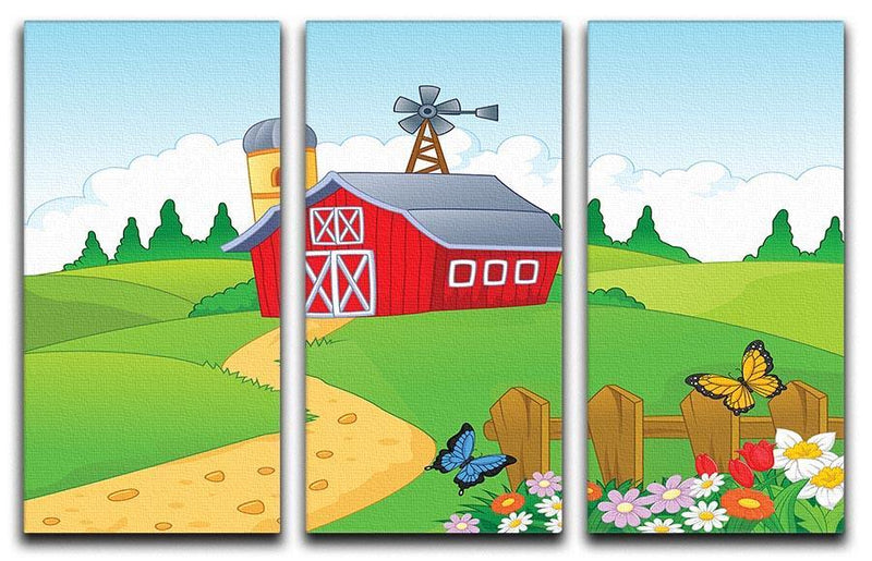 Farm cartoon background 3 Split Panel Canvas Print - Canvas Art Rocks - 1