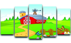 Farm cartoon background 5 Split Panel Canvas - Canvas Art Rocks - 1