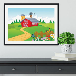 Farm cartoon background Framed Print - Canvas Art Rocks - 1