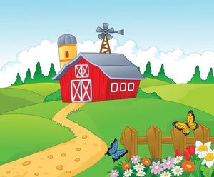 Farm cartoon background Wall Mural Wallpaper - Canvas Art Rocks - 1