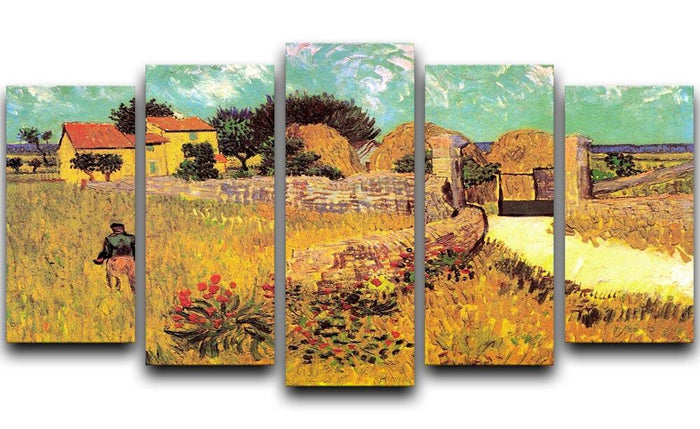 Farmhouse in Provence by Van Gogh 5 Split Panel Canvas