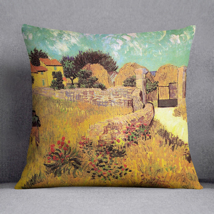 Farmhouse in Provence by Van Gogh Throw Pillow
