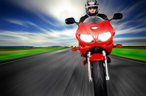 Fast Red Motorbike Wall Mural Wallpaper - Canvas Art Rocks - 1