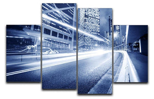 Fast moving cars lights blurred city 4 Split Panel Canvas  - Canvas Art Rocks - 1