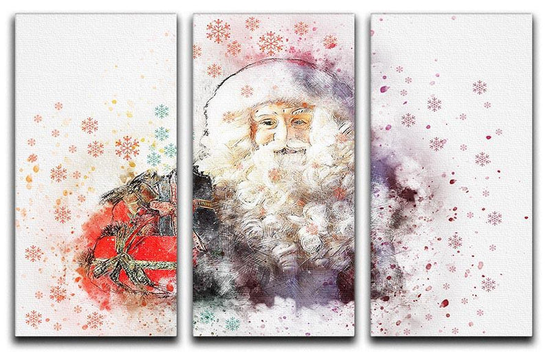 Father Christmas Close Up 3 Split Panel Canvas Print - Canvas Art Rocks - 1