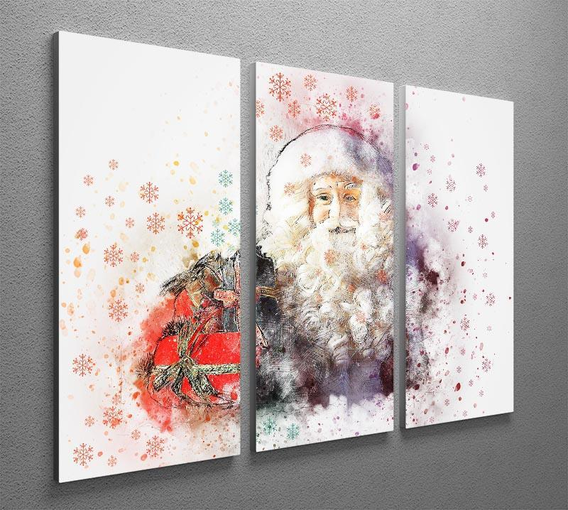 Father Christmas Close Up 3 Split Panel Canvas Print - Canvas Art Rocks - 2