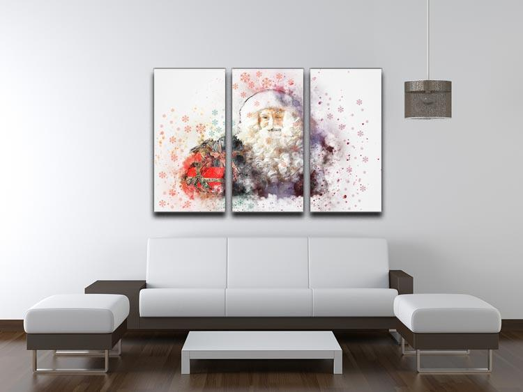 Father Christmas Close Up 3 Split Panel Canvas Print - Canvas Art Rocks - 3